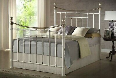 4FT6 Double Size Cream Victorian Style Metal Bed With Mattres Options