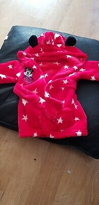 Girls Minnie Mouse Hooded Dressing Gown  -  0-3 months
