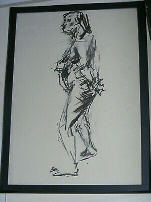 Figure life drawing nude expressive Art Brut charcoal, woman standing < A1 size@