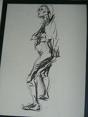 Figure life drawing nude expressive charcoal /paper, woman standing < A1 size @