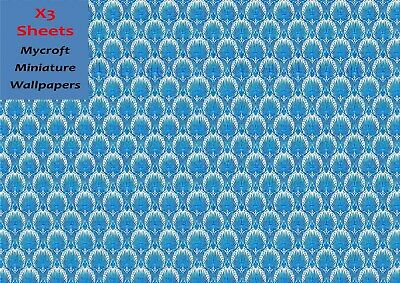 MINIATURE DOLLS HOUSE WALLPAPER 3 SHEETS 1/12th SCALE BLUE PATTERN PHOTO PAPER