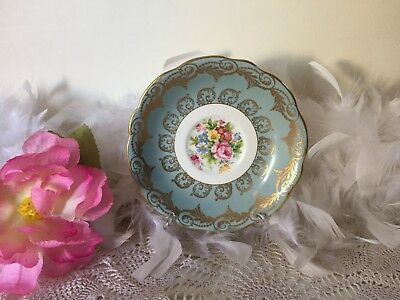 EB Foley Bone China floral Plate with gold leaf pattern, Pale blue Orphan Saucer