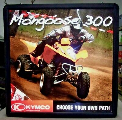 """MONGOOSE KYMKO Motorcycles Lighted Double Sided Advertising Sign 26"""" x 26"""""""