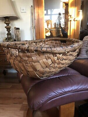 Antique Oak Swill Large Basket