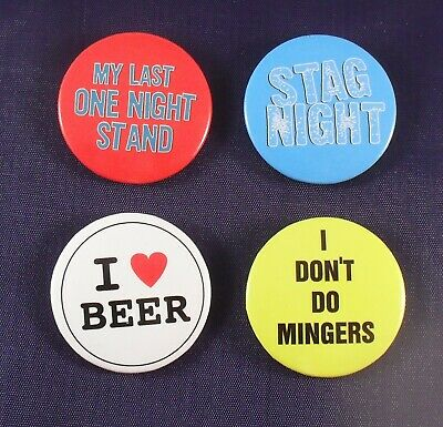 100 x Stag Party Badges Collectable 37mm Badges Job Lot