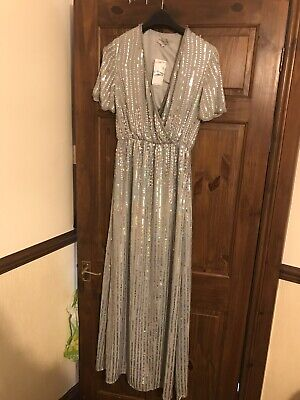 e544b82b Virgos Lounge Size 10 Evening Wedding Gown Long Silver Sequins Beads  Embelished