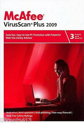 McAfee Virus Scan 2009 (PC) Powerful Web Site Safety Advisor! Protects 3 PCs