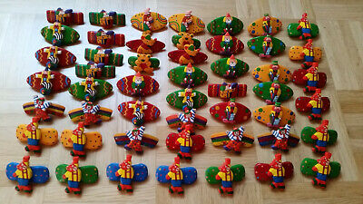 50 x Haarspange Holz Sonderposten bunter Mix Teddy Clown Mix 1 *NEU*