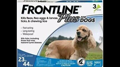 Frontline Plus for Medium Dogs 23-44 lbs 3 Doses - Free And Fast Shipping!