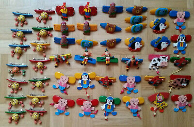 50 x Haarspange Holz Sonderposten bunter Mix Tiere Clown Mix 2 *NEU*