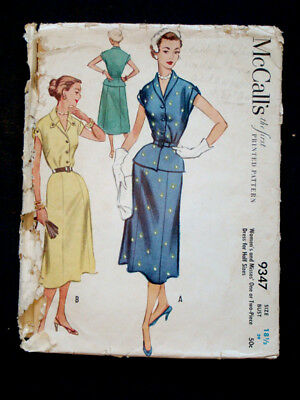 1950's Vintage McCALL #9347 Fashion PRINTED DRESS PATTERN / Size 18.5 / Bust 39