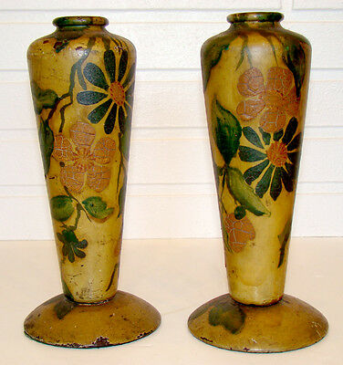 Antique VICTORIAN Treen Wood FOLK ART NOUVEAU Arts Crafts TOLE PAINTED Urn Vase
