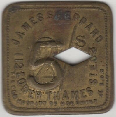 James Sheppard 5 Over 2 Shilling Lower Thames Token | Pennies2Pounds
