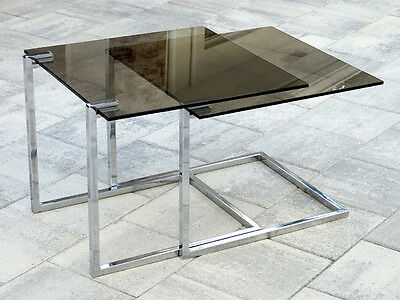 1960's Vintage MID-CENTURY MODERN Chrome Glass STACKING NESTING TABLES Baughman