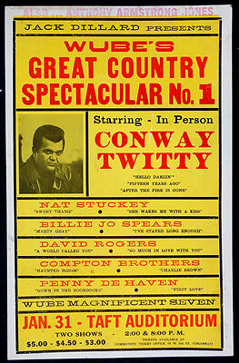 Vintage CONWAY TWITTY Hatch Style CONCERT POSTER / Nat Stuckey BILLIE JO SPEARS