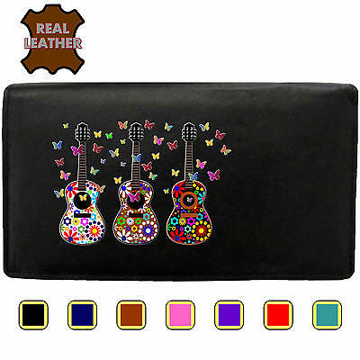 Purse 3 Acoustic Guitar and Butterfly Cloud Klassek Real Leather Womans Wallet
