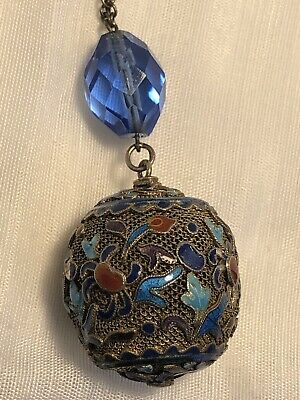 Chinese Export Gilt Silver Enamel Filigree Pendant Necklace w/ Blue Glass