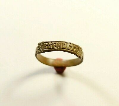 """Stunning Post Medieval Bronze Ring Inscribed """"faith/loyalty"""" On Bezel - Wearable"""