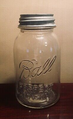 Ball Perfect Mason Jar Clear Quart Zinc Lid Cover Dated 1923 - 1933