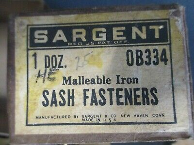New Old Stock - 8 Sargent Sash Window Fasteners Catches Latches Locks w Orig Box