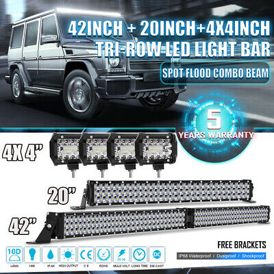 """Tri-Row 42Inch Combo+20inch+4x 4"""" Pods Offroad ATV Led Work Light Bar 22/24/44"""""""