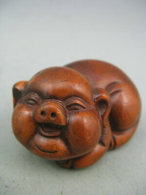 Antique Chinese Old Boxwood Hand Carved Pig Calligraphy Netsuke Statue