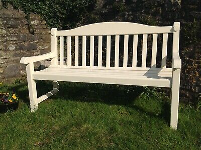 Hardwood (Iroko) Garden Patio Bench (1 only) painted cream.Scroll arms.