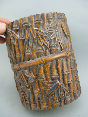 Antique Chinese Old Bamboo Hand Carved Bamboo Brush Pot Statue