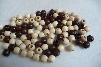 Lot de 100 perles bois , ronde,  blanc & marron.,12 mm..