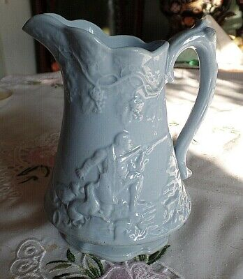 Antique Blue Relief Moulded Jug with Shooting Huntsman and Hunting Dogs