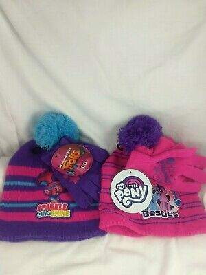 Purple & Pink Striped Pom Beanies Kid My Little Pony & Trolls Beanies and gloves