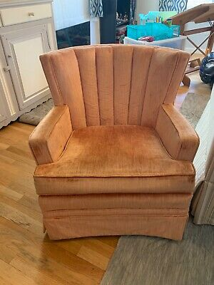 Pair of Vintage 1940's upholstered armchairs, salmon color-excellent condition