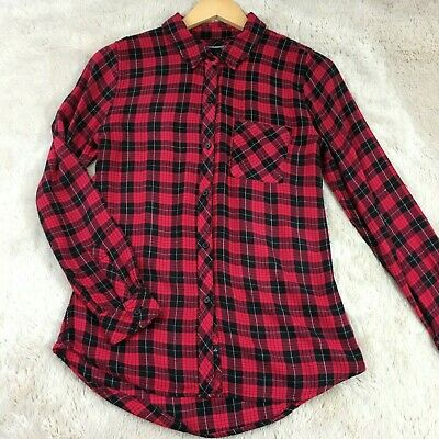 Rails Hunter Plaid Button up relaxed fit Shirt in red, black, Small