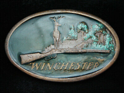 Pc11171 Vintage 1977 **Winchester** Rifle Gun Hunting Brasstone Belt Buckle