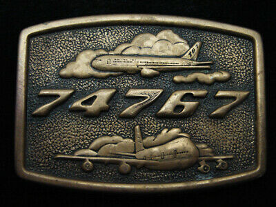 Ra07144 Vintage 1978 *74767* Boeing Aircraft Company Solid Brass Bts Belt Buckle