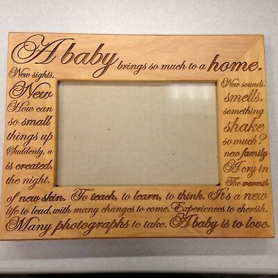 DOLLAR SALE! Vintage Baby Wood Photo Picture Frame With Sweet Prose