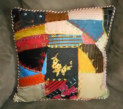 Antique Victorian Crazy Quilt Square - Decorative Pillow - Pillow included