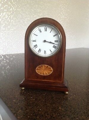 Antique Mahogany Top Mantle Clock With Key In Great Condition