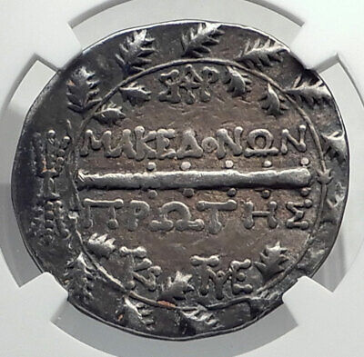 AMPHIPOLIS Roman Macedonia 167BC LARGE Silver Greek Tetradrachm Coin NGC i77482