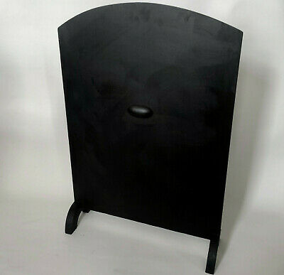 Art Deco Matt Black Wood Fire Screen With Semi Circle Legs & Handles Each Side