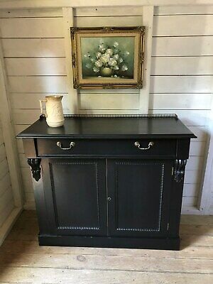 Victorian Chiffonier Sideboard Buffet Painted Black Ebonised Delivery is Extra