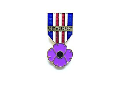 New 2019 WW1 Purple Poppy Badge Brooch Remembering Animals of War and Peace