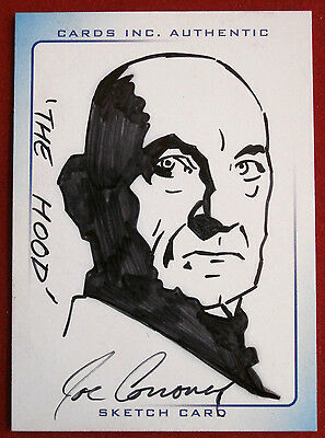 THUNDERBIRDS - Scarce INK Sketch Card - THE HOOD by JOE CORRONEY, Cards Inc 2004