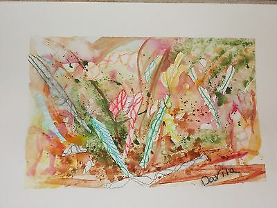 "Clearance, Original Candy Cane watercolor abstract direct by Texas artist 9""x12"""
