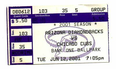 Arizona Diamondbacks vs Chicago Cubs Ticket stub 6/12 2001 World Series Bank One