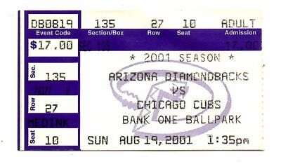 Arizona Diamondbacks vs Chicago Cubs Ticket stub 8/19 2001 World Series Bank One