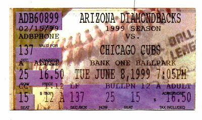 Arizona Diamondbacks vs Chicago Cubs Ticket stub 6/8 1999 Bank One Ballpark