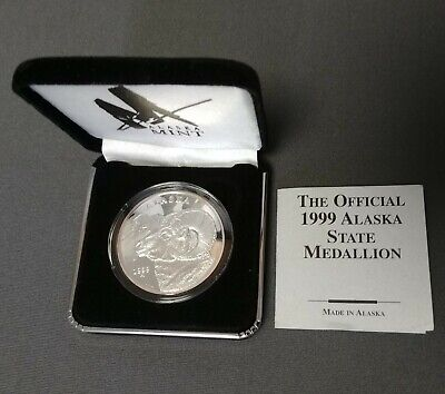 1999 Alaska State .999 Fine Silver Proof Dall Sheep Medallion Coin 1 Troy Oz