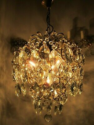 Antique Vnt French Big Cage Crystal Chandelier Lamp 1940's 15in Dmtr