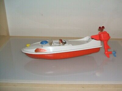 Tin Toy And Plastic Speedboat  West Germany Clokwork Working